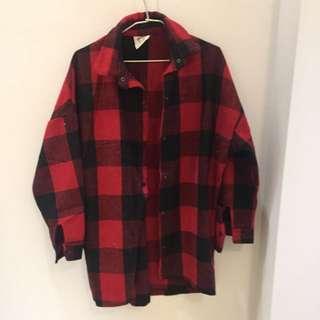 法蘭絨厚襯衫 黑紅格