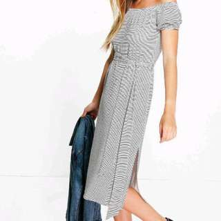Boohoo Stripe Off Shoulder Dress