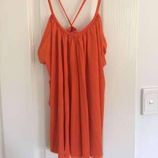 Orange 'Bardot' Top