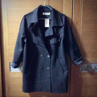 🚚 (全新含運)黑色流蘇麂皮大衣外套