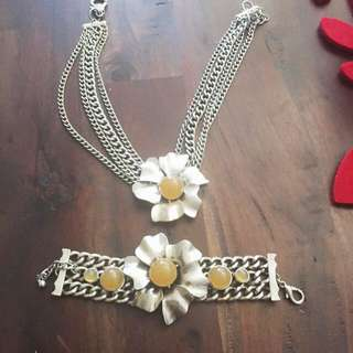 Gorgeous Set Silver Tipped Necklace And Bracket