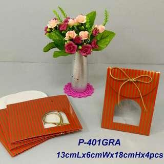 350lbs Cardboard paper 紅金線條禮物袋x4pcs