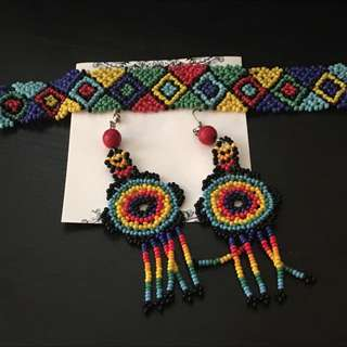 Hand Made Mexican Earrings And Bracelet