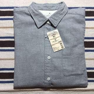 MUJI 無印良品 全新 法蘭絨長袖襯衫 灰色M