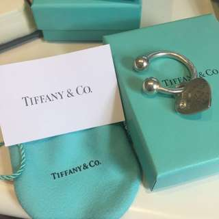 TIFFANY & CO Sterling Silver Heart Tag Key Ring 100% Authentic