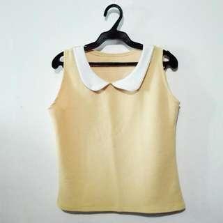 Sleeveless Pastel Blouse W/ Collar