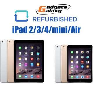 iPads 2/3/4/mini/Air/Air2 (Refurbished with Warranty)