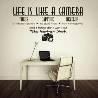 (Pre-Order) Life Is Like A Camera Quote Wall Stickers 👌👌