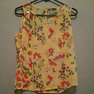 Yellow Sheer Flower Top