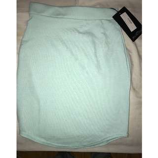 MISSGUIDED Mint Green Ponte Curve Hem Mini Skirt