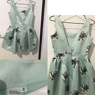 Premium Rose On Dusty Blue Backless Doll Dress