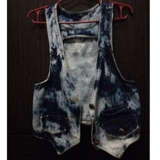 acid wash denim vest