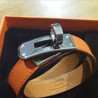 Hermes Kelly Double Tour Bracelet In Orange