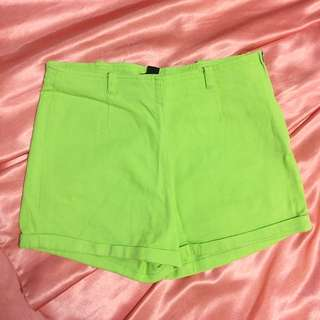 Forever 21 Yellow-green High-waisted Shorts