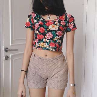 cropped top & shorts
