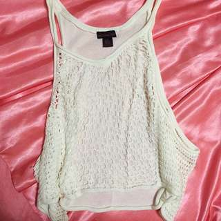 Material Girl Off-white Loose Knitted Sleeveless Shirt
