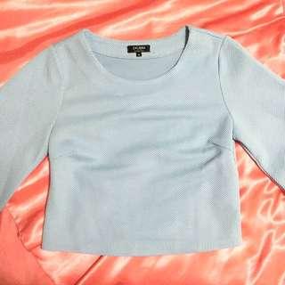 Zalora Light Blue Quarter-sleeve Shirt