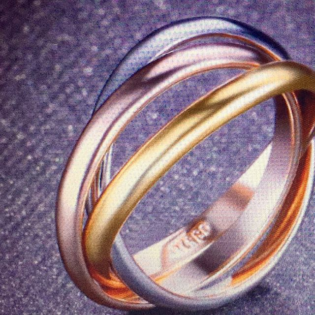 3 Circle Twisted Ring Yellow Rose Gold Sliver Colour