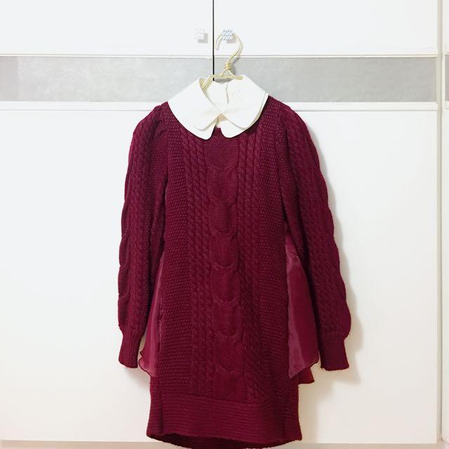 二手假兩件造型毛衣連身裙