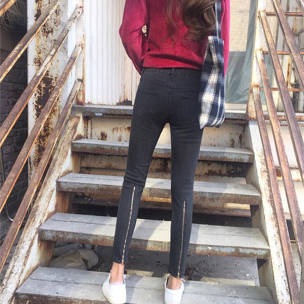韓國複古顯瘦拉鏈高腰牛仔褲