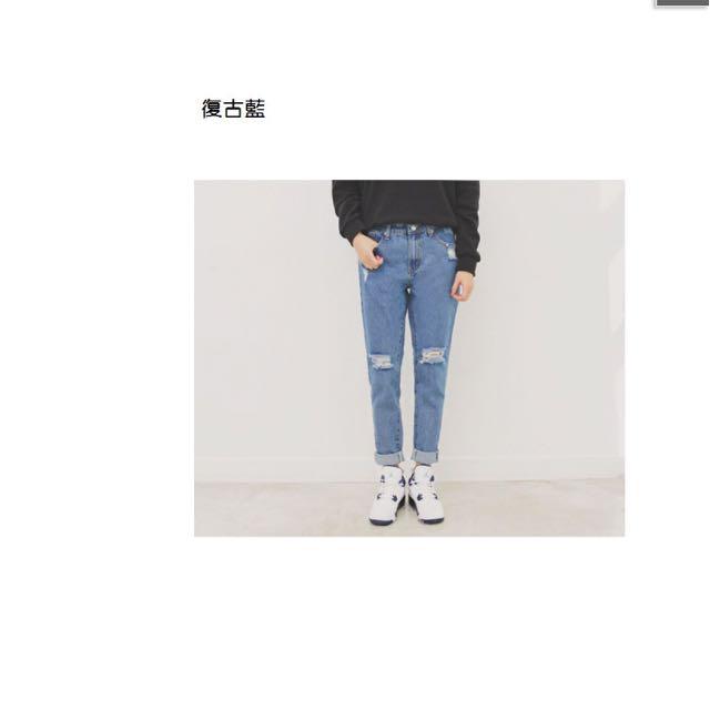 韓國寬鬆破刷牛仔褲