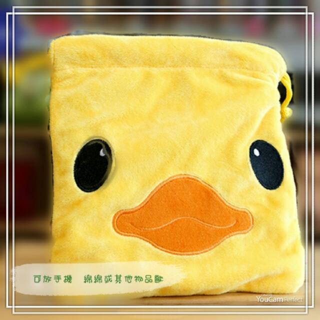 黃色小鴨 絨毛束口袋