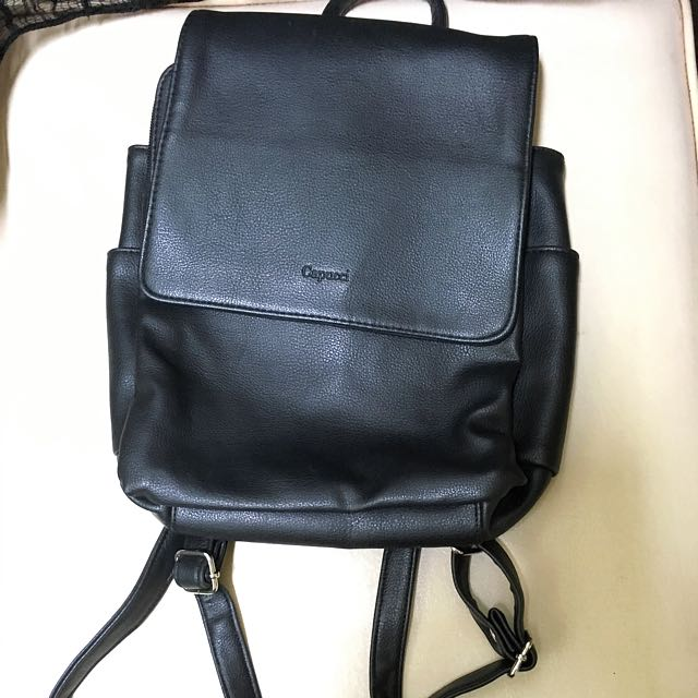 Black faux leather backpack (Cappucci)