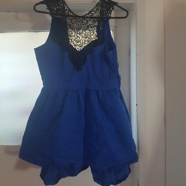 Blue Dress With Black Lace