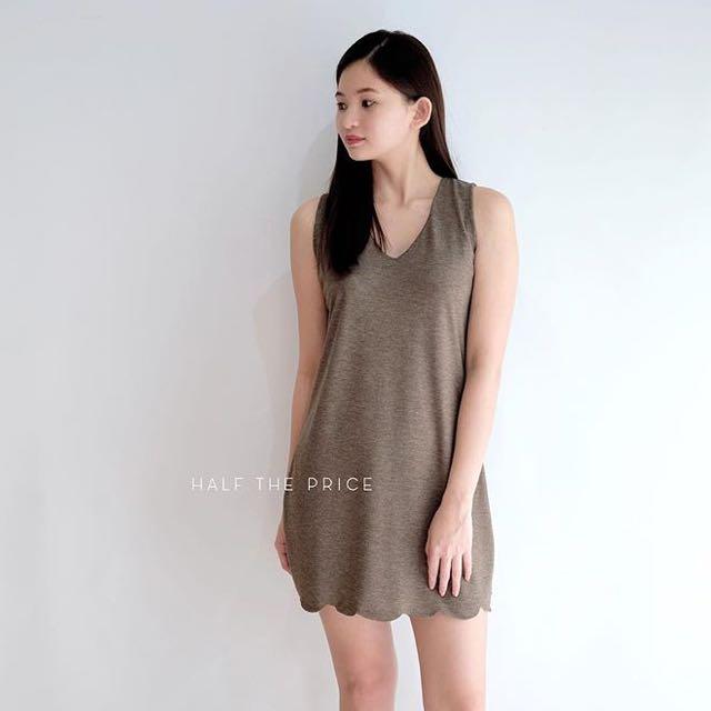 Cotton Scallop Mini Dress