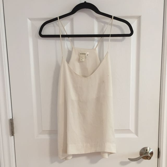 Cream Silk-like Tank Top H&M