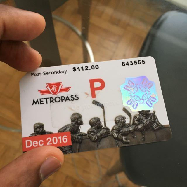 December TTC Métro Pass