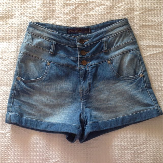 Faded Blue High Waisted Denim Shorts
