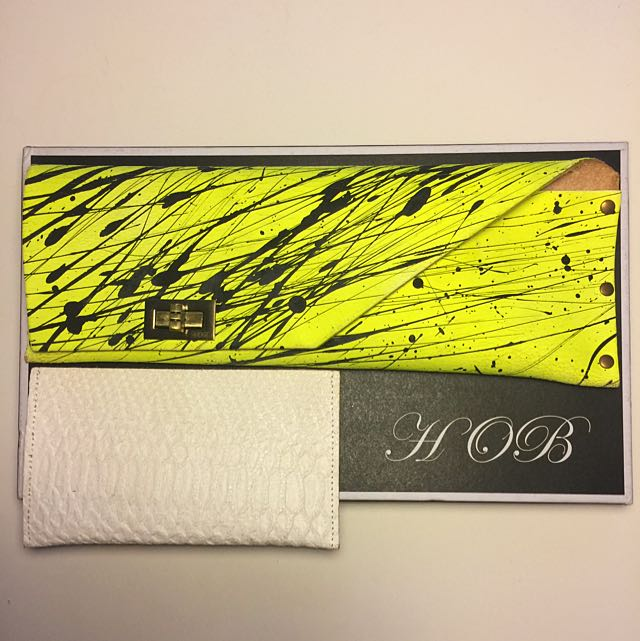 Leather Clutch Bag & Case Neon Yellow/black Splatter Detail