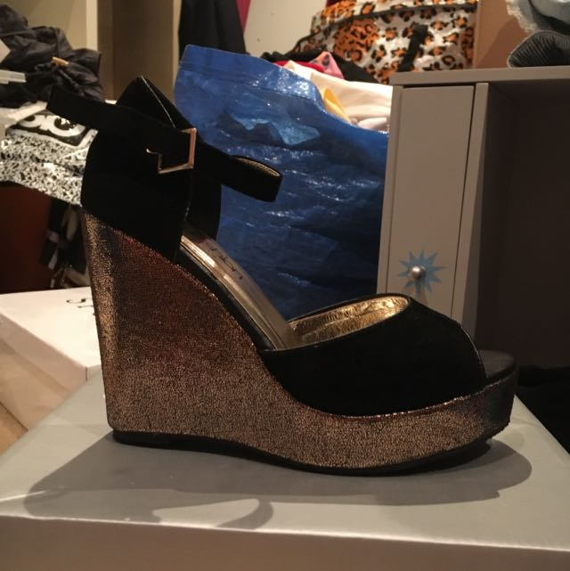 Gold and Black Wedge Heels