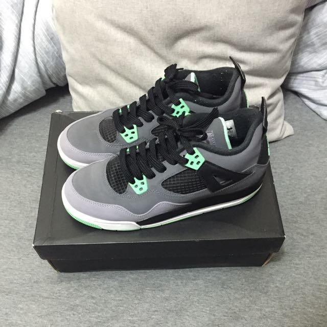 Nike air jordan green glow 4代 湖水綠