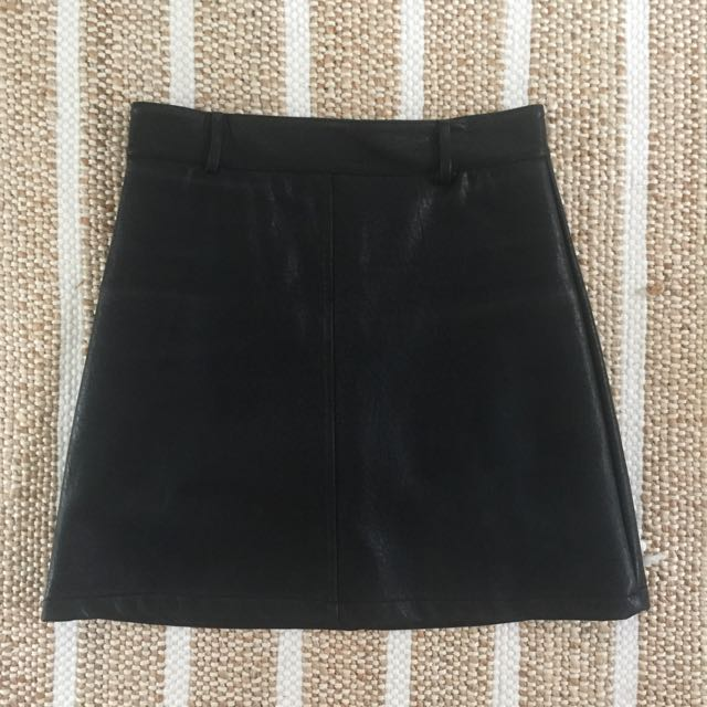 Leather-Look Mini Skirt Size 10
