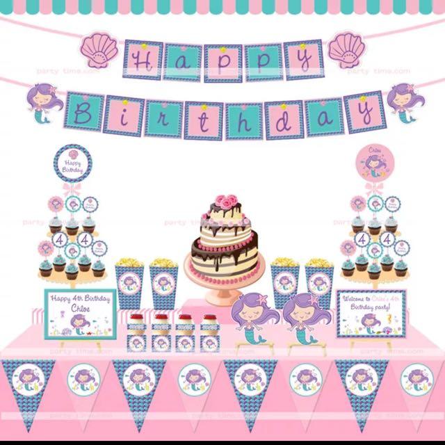 Mermaid Birthday Theme Party Desserts Table Setup Decoration Unicorn