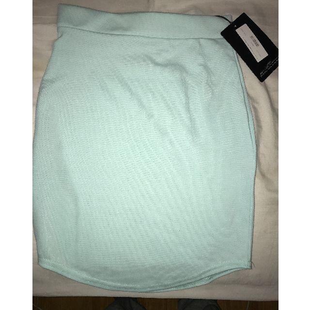 MISSGUIDED Mint Green Ponte Curve Hem Mini Skirt