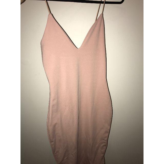 (pending) MISSGUIDED Nude Strappy Curve Hem Midi Dress