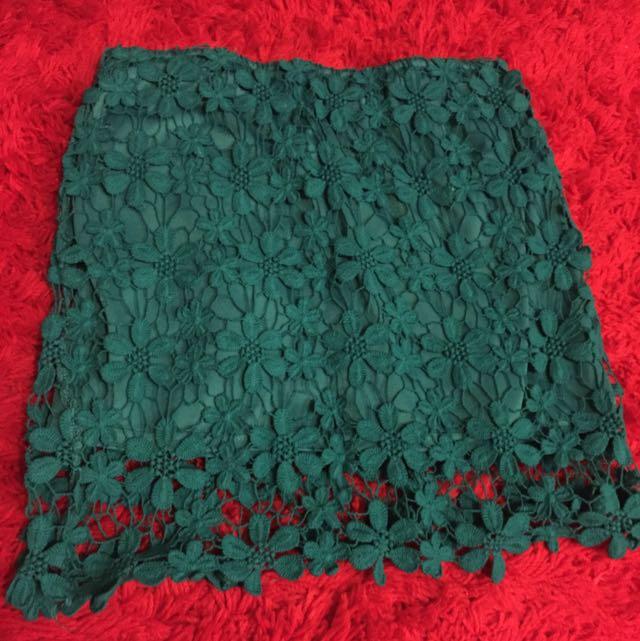 Mooloola Green Flower Mini Skirt Size 8