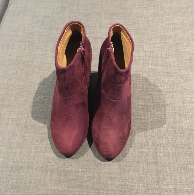 NEW Maroon Suede Wedge Boots