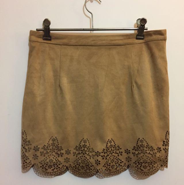 Paper Heart Laser Cut Tan Skirt