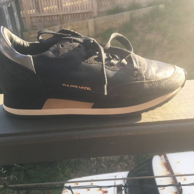 Phillipe Model Gold And Black Sneakers