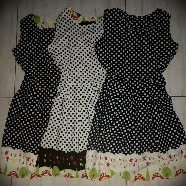 Polka Dress - 36inch length (freesize)