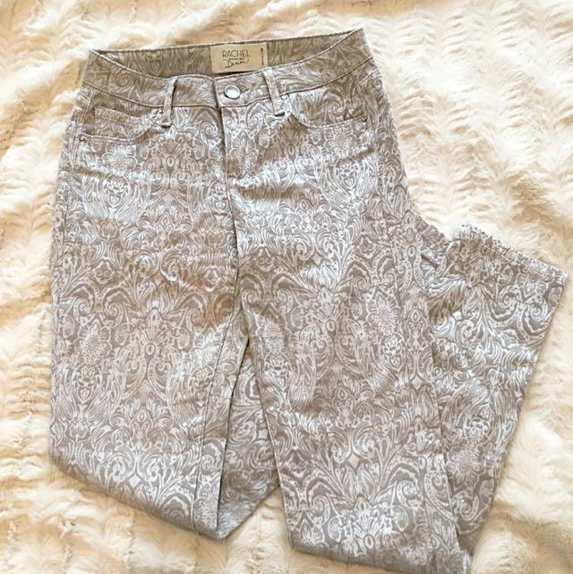Rachel Roy Silver Paisley Print Jeans - Size 25