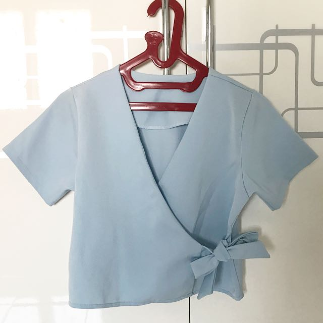 Skyblue Ribbon Cropped Top