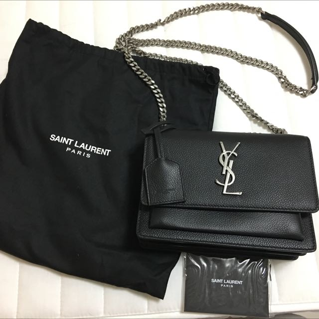 b28d87341 Small Sunset Monogram Saint Laurent Bag in Black Grained Leather ...