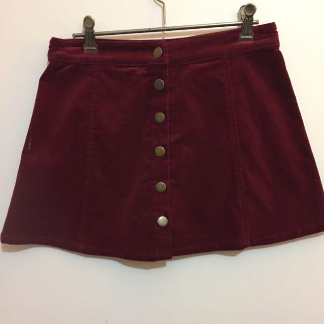 Subtitles Maroon A-line Skirt