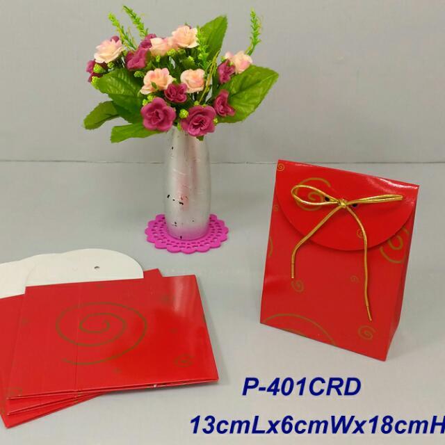 350lbs Cardboard paper 紅底金圈禮物袋x4pcs
