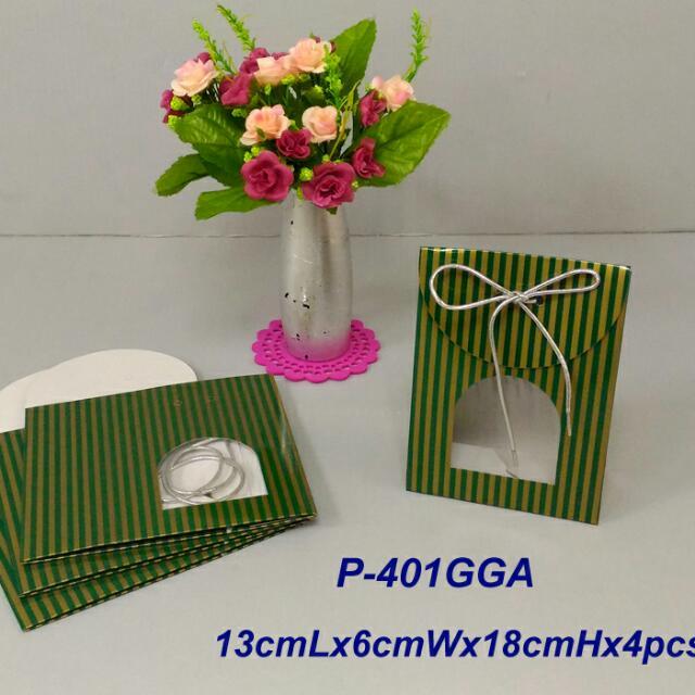 350lbs Cardboard paper 綠金線條禮物袋x4pcs
